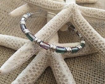 inspired, beaded bangle, adjustable bangle, crystal bangle, accent bracelet, stackable bracelet, beaded bracelets
