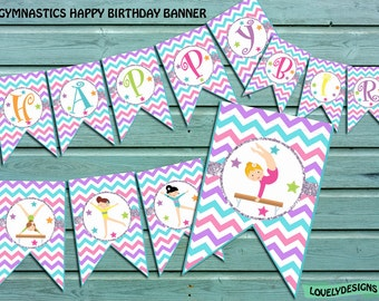 Gymnastic Banner, Gymnastic Birthday banner, party banner, Banner printable, Instant Download PDF