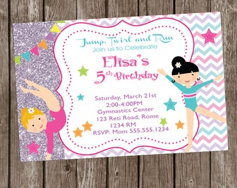 Gymnastic Invitation  Printable, Gymnastic Party, Gymnastic Personalized, Gymnastics Birthday,Gymnastics Photo Invitation