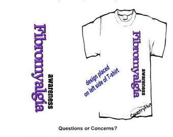 T-shirt - FIBROMYAGLIA Awareness - / left chest design / yth xSmall to adult 6xLarge