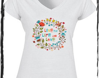 Live The Life You Love White Cotton Capped Sleeve Tee Shirt