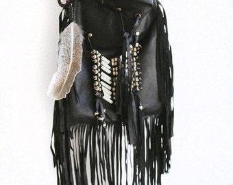 medicine bag | black leather bag | leather purse | gypsy bag