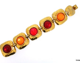 Vintage Eduard Rambaud Bracelet Yellow Red Crystal Gold