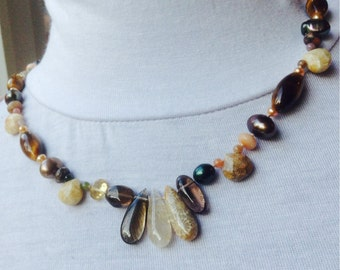 Earthy Tone Mixed Gemstones necklace - Citrine, tiger eyes, smoky, fossil coral and freshwater pearls hand knotted silk necklace, silk cord