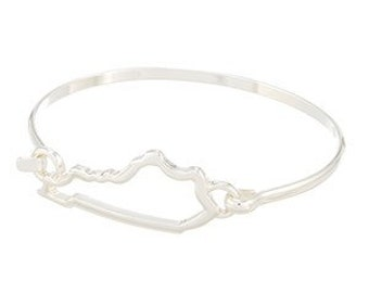 Kentucky State Outline Gold or Silver Bangle