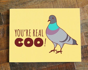 "Funny Greeting Card ""You're Real Coo"" Pigeon - just because, all occasion card, funny friendship card, funny card for friend, thank you card"