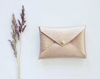 Vegan Gold metallic wallet, gold business card wallet, vegan leather business card holder, business card case