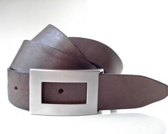 """Mens Brown Leather Belt - 1"""" 1/2 - Handmade In UK - Modern Matt Silver Buckle - Brown Belt - Modern Belt"""