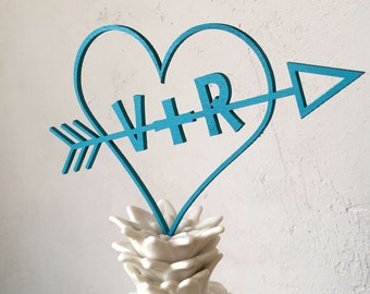 Heart with initials - cake topper - wedding