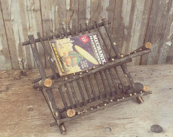 handmade vintage twig rack for dishes or magazines