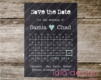 Printable - Save the Date - Chalkboard Calendar
