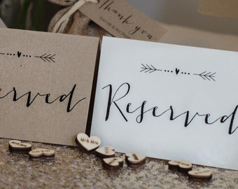 Vintage/Rustic 'Arrow' Wedding Reserved Signs- ivory or brown