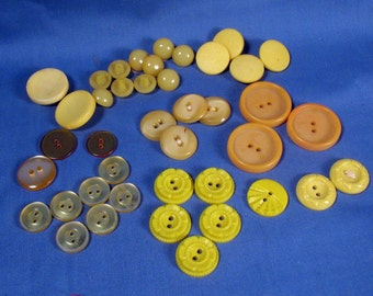 Vintage Plastic Buttons - Yellow - Lot of 40, various styles