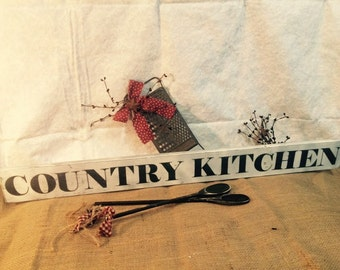 Country Kitchen! Rustic primitive wooden sign for your country decor.