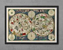 ANTIQUE ZODIAC ART Print - Vintage Astrology Print - Professional Reproduction - Moon Phases Print Horoscope art Zodiac Print Astrology Art