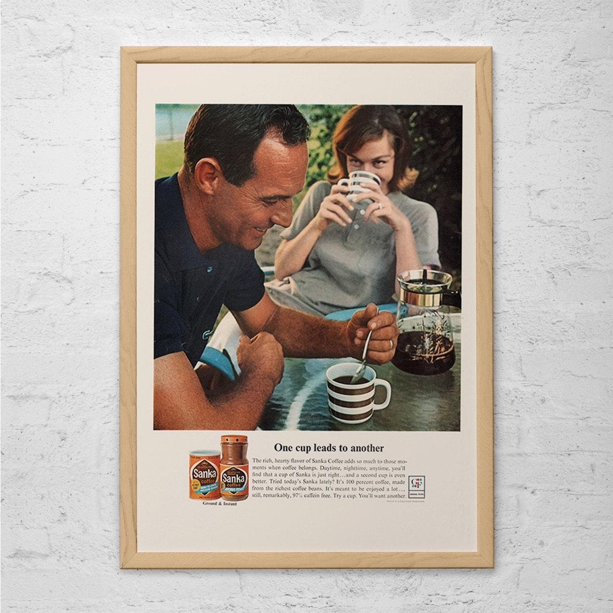 Retro kitchen wall art - Vintage Sanka Coffee Classic Coffee Ad Mid Century Poster Retro Kitchen Ad Retro