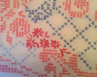 Circular Cross-Stitch Tablecloth in Pink, Blue and Red on White SALE ~ REDUCED!