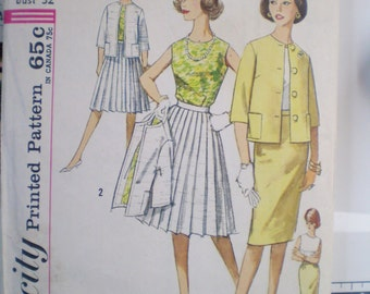 1960s Vintage Sewing Pattern, Simplicity 4400, size 12 bust 32 - Mad men inspired, Jackie Kennedy look, retro, ensemble- blouse,jacket,skirt