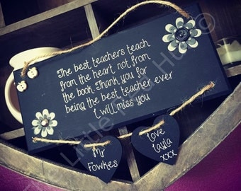 Personalised/Bespoke Thank you Teacher Plaque, Black and White