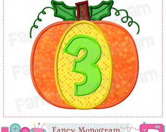 Pumpkin Number 3 applique,Thanksgiving,Number 3 applique,3,Pumpkin,Birthday Number 3 embroidery,3,machine embroidery.