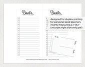 "Personal planner insert printable - books - checklist (measures 3.7""x6.7"")"