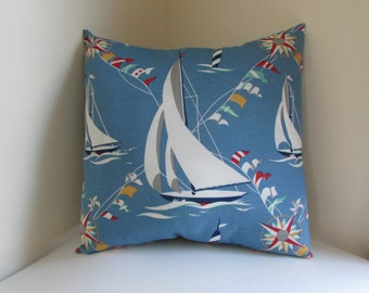 Sailboat Decorative Pillow Cover, Blue Nautical  Pillow Cover, Kids Pillow Cover