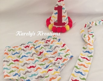 Mustache Smash Cake Outfit, First Birthday