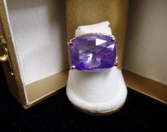 Sterling Silver Vermeil (gold over silver) ring with purple stone size 7