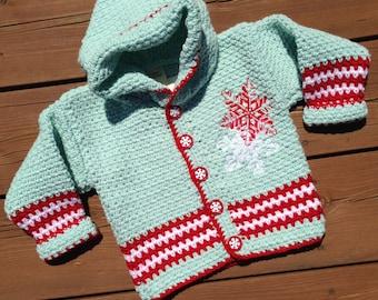 Christmas sweater, Handmade Crochet Baby hoodie, Girl Sweater - Children's sweater - Size 3