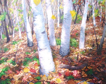 "acrylic painting of birches in autumn, 36"" x 36"" on stretched canvas"