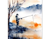 Fisherman Watercolor Painting Art Print, Blue Orange Landscape Morning Fishing, Watercolour Art