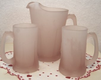 Vintage Frosted Pink Indiana Glass Pitcher and Tanker Set