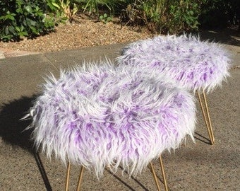 Purple and White Faux Fur Stools with Gold Hairpin Legs