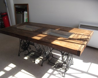 Rustic dining table with vintage singer sewing by rusticcreati for Kitchen table with glass insert