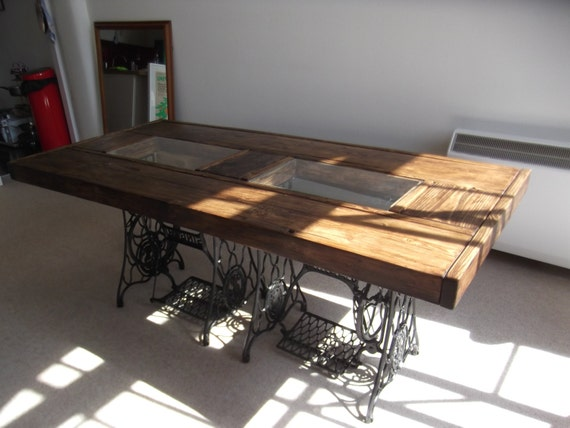 RUSTIC DINING TABLE with vintage singer sewing machine : il570xN777798510v9cq from www.etsy.com size 570 x 428 jpeg 44kB