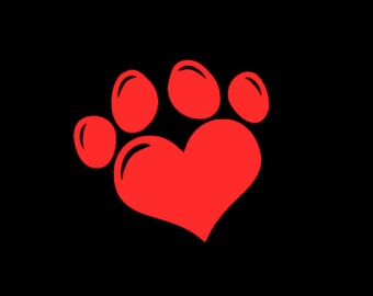 Heart Paw Print Custom Car Window Decal