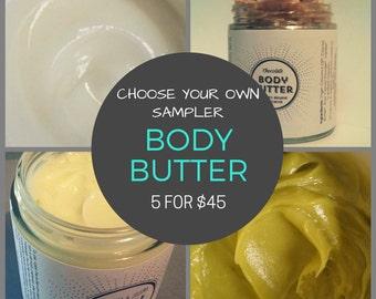 Choose Five: Body Butter Sampler Set, Organic Body Butter Sampler, All Natural Body Butter, Choose Your Own Sampler