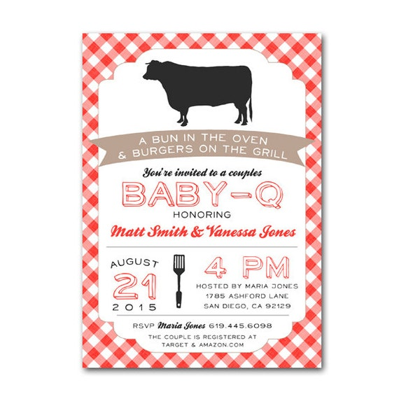 Couples Bbq Baby Shower: Baby Q Couples BBQ Shower Baby Shower Invitation Barbecue