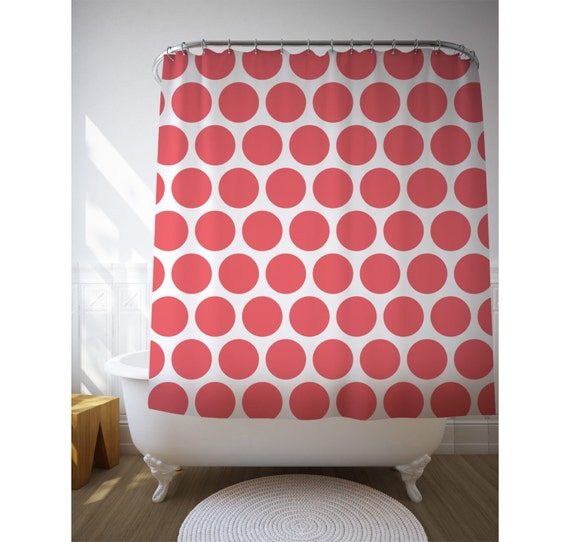 Shower Curtain Polka Dots Graphic Art Bathroom Decor Printed