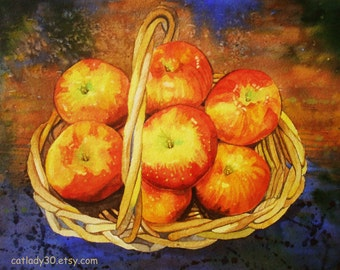 Honeycrisp apples watercolor print. Still life painting. Watercolor art. Apple painting. Apple artwork. Apples picture. Country decor.