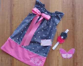3T Monogram Dress, Monogrammed Dress, 3 Toddler Dress, Personalized Dress, RTS, Peasant Dress, Headband Set, Removable Bow, Girls