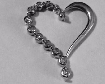 Diamond heart pendant slide, 10K  white gold; 1.6 grams,  17 x 21 mm; Gift for her; April birthstone
