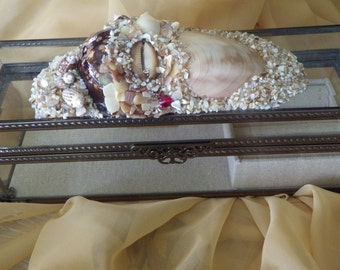 Glass Jewelry box embellished with exotic shells, and precious jem stones.