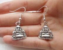 buddha earrings silver earrings spiritual jewellery handmade earrings silver buddha charm earrings fashion jewellery zen jewellery gift her