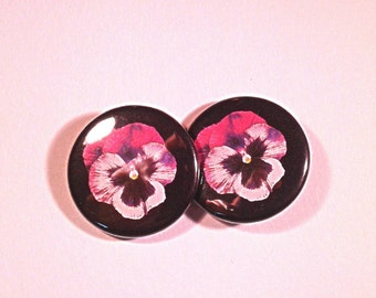 Purple Viola Flower Pinback Button