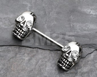 Luster Skull Nipple Barbell Ring