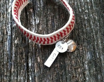 Baseball bracelet, Handstamped with name and number