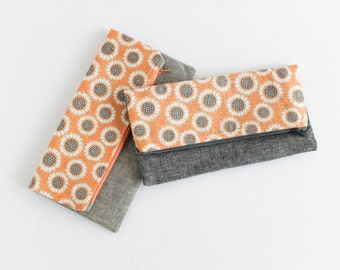 Foldover Clutch | Large Fold Over Sunflower & Gray Linen Clutch by s/f Designs