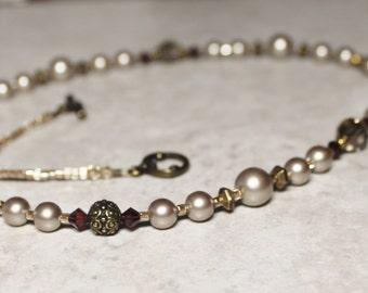 Women's Catholic Necklace; Catholic Jewelry; Woman's Platinum Swarovski Crystal Pearl and Bronze Crucifix Catholic Necklace