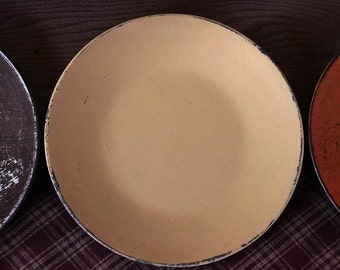 Distressed Wood Plate, Candle Plate, Decorative Wood Plate, Chippy Paint Decor, Dijon Yellow Distressed Wooden Plate - MADE TO ORDER